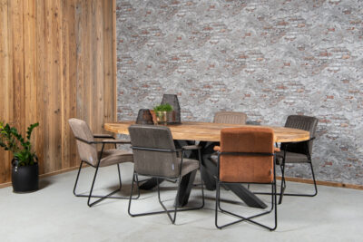 Industriële tafel MARCO mangohout ovaal